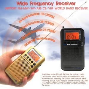 Image 2 - Самолет Полнодиапазонный VHF радио портативный FM AM SW радио VHF CB 30 223 МГц 25 28 МГц Air 118 138 МГц с двойным будильником