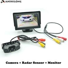 """ANSHILONG Auto Parktronic Dellautomobile Del Sensore di Parcheggio Video con Videocamera Vista Posteriore + 4.3 """"TFT LCD Monitor di SISTEMA 3 in 1"""