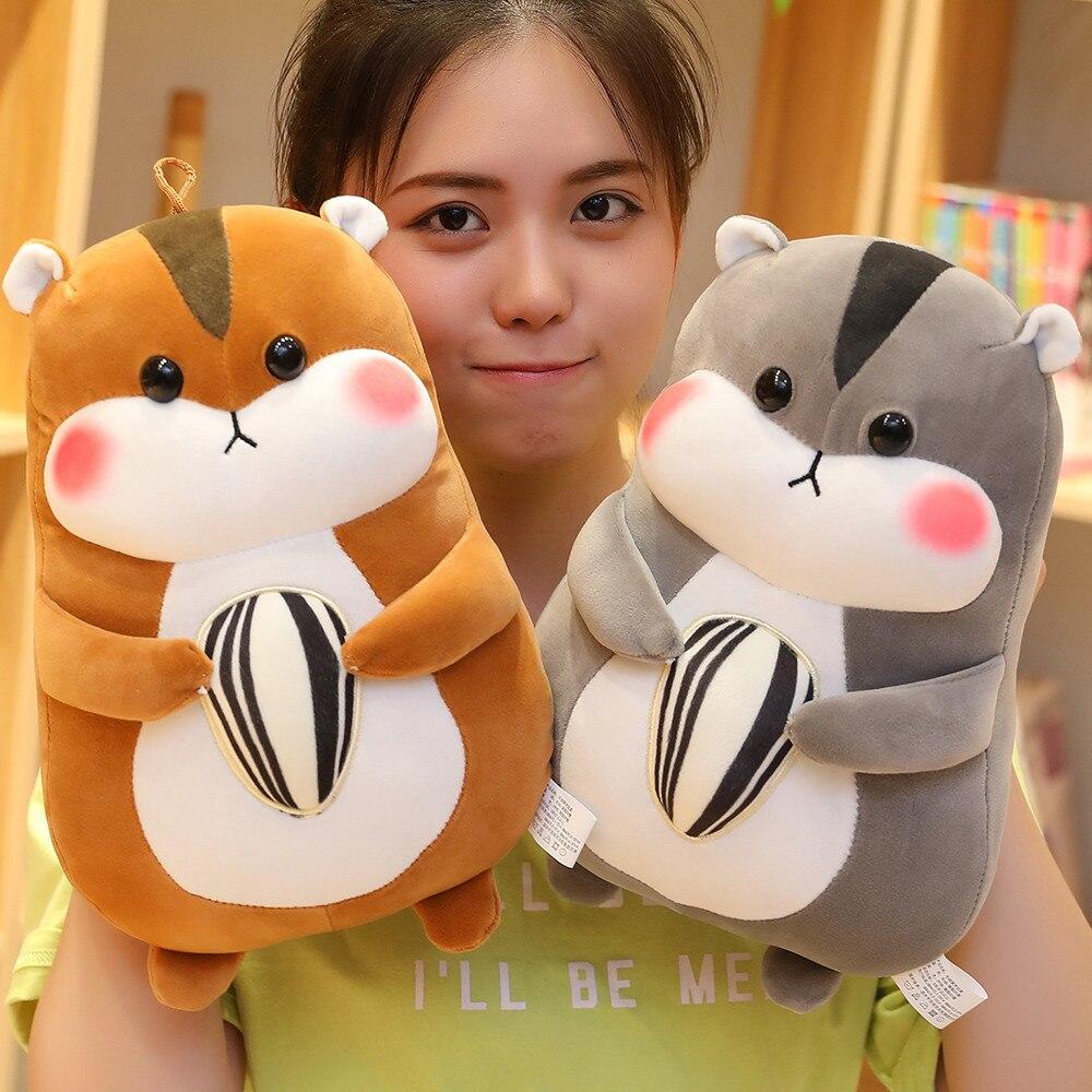 New 1pc 23cm-45cm Cute Hamster Mouse Plush Toy Stuffed Soft Animal Hamtaro Pilloq Soft Pillows Kawaii Birthday Gift For Children