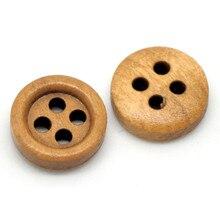 цена на 200Pcs Round Coffee Wood Sewing Buttons 4 Holes Wooden Scrapbook Ornaments Making 11mm(3/8)