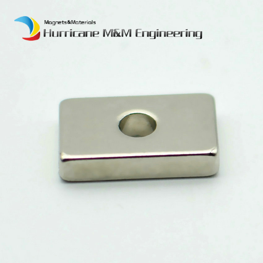 20 200pcs NdFeB Magnet Block 20x12x4 mm with Diameter 5 mm Hole Rectangle Strong Neodymium Rare Earth Permanent Magnetics N42