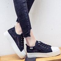 2018 Cutouts Casual Lace Canvas Shoes Summer Women Shoes Hollow Floral Breathable Platform Flat Shoes White