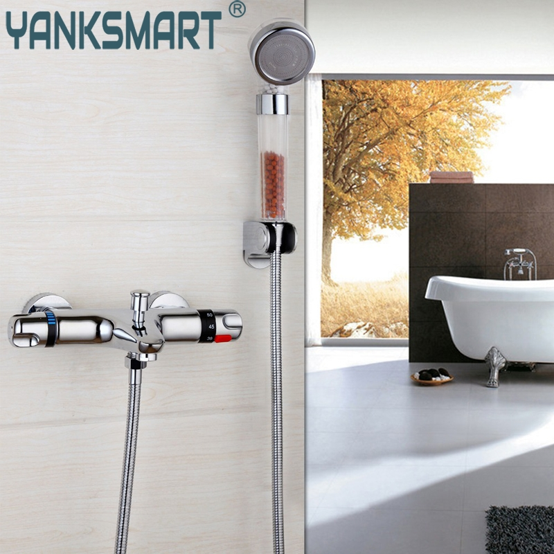 Bathroom Contemporary Wall Mounted Thermostatic Faucets Polished Chrome Mixer Tap Shower Set Rain Bathtub Faucets Shower Set new shower faucet set bathroom thermostatic faucet chrome finish mixer tap handheld shower wall mounted faucets