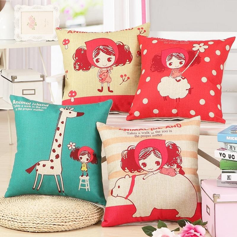 Cute Girl Cushion Мұқабасы Linen Cotton Үй Декор Sofa - Үй тоқыма - фото 1