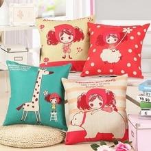 Cute Girl Cushion Cover Linen Cotton Home Decor Sofa Car Seat Decorative Throw Pillow Hot Sale Housse De Coussin Cojines