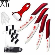 """Schöne Weihnachten Küchenmesser XYJ Marke 3 """"4"""" 5 """"6"""" Keramik Messer + Peeler + Messer Stehen Red Griff Weiß Klinge Kochen Messer"""