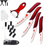 Beautiful Christmas Kitchen Knives XYJ Brand 3 4 5 6 Ceramic Knife Peeler Knife Stand Red