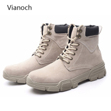 Vianoch Fashion New Mens Ankle Boots Casual Vintage Western Style Shoes Suede Lace Up Oxfords Shoe Man Size 45 46 bb0415
