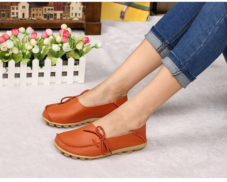 2016 New Real Leather Woman Flats Moccasins Mother Loafers Lacing Female Driving Casual Shoes In 16 Colors Size 34-44 ST179 (5)