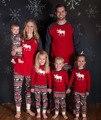 2016 Новое Семейство Лося Рождество Пижамы Holloween Пижамы Папа Мама и Ребенок Хлопка Теплая Одежда набор Семьи Сопоставления Одежда