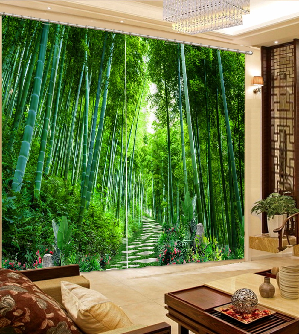 Us 54 8 60 Off Modern Bedroom Curtains Bamboo Blackout 3d Window Curtain For Living Room Landscape Sheer Curtain Home Decoration Green Drapes In
