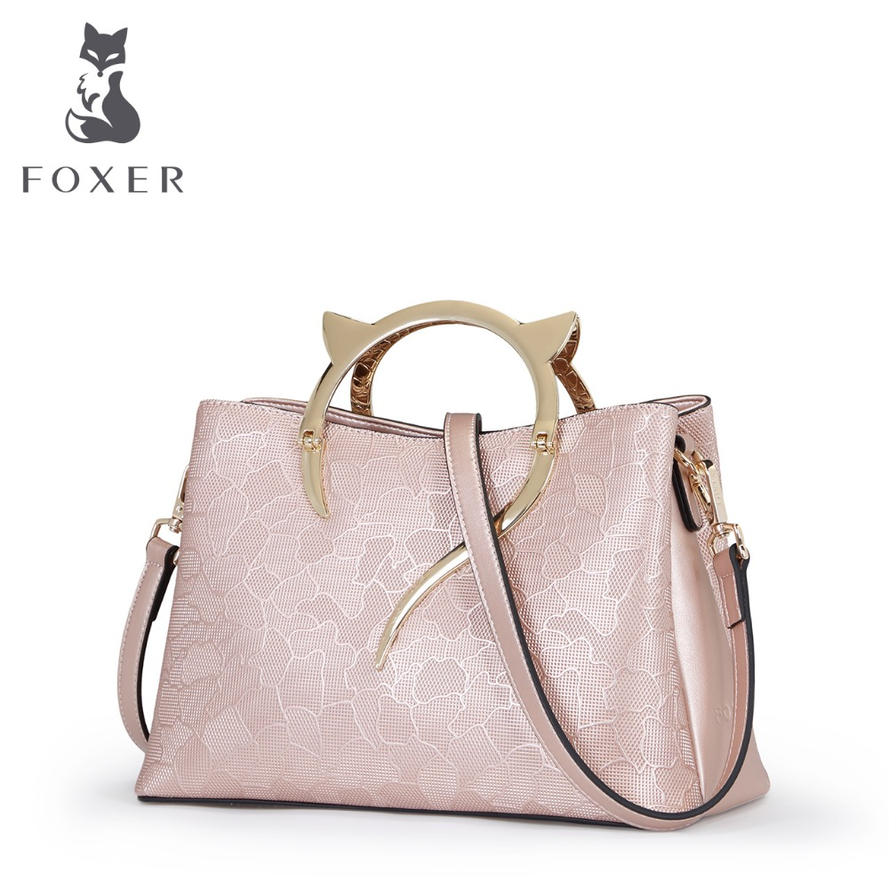 FOXER Women Leather fashion shoulder bag Women handbag Female bags foxer shoulder