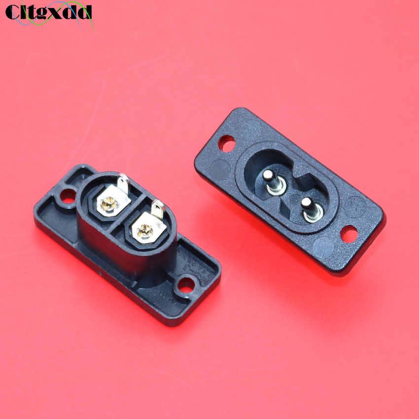 Cltgxdd IEC320 C7 2 Terminal AC wtyczka zasilania gniazdo wlotu AC 250 V 2.5A czarny dwa rdzenie spawania drutu gniazdo zasilania