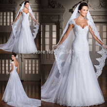 цена на Cap Sleeve White Wedding Dresses Mermaid Trumpet Sweetheart Lace Applique Beads Pleats Sweep Train Bridal Gowns yk1A909