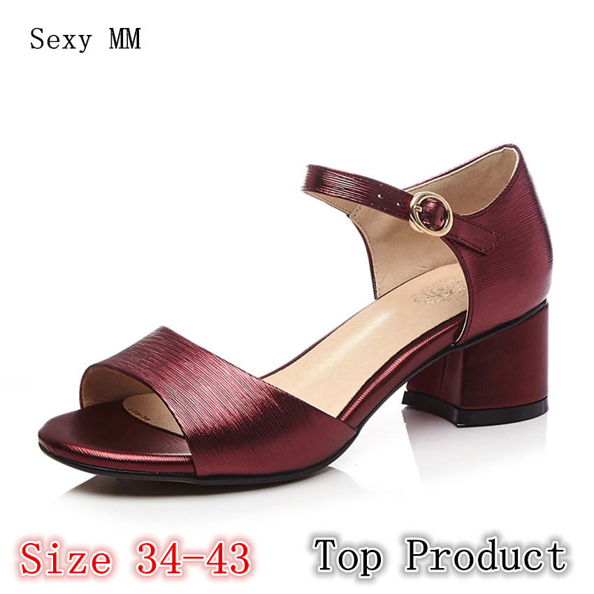 Genuine Leather Women Sandals High Heels Peep Toe Pumps Summer Shoes Woman High Heel Sandals Plus Size 34 - 40 41 42 43 цены онлайн