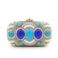 Bohemian Style Beaded Women Evening Bag Fashion Handmade Colorful Pearl Clutch Purse Bags with Chain Shoulder Bag