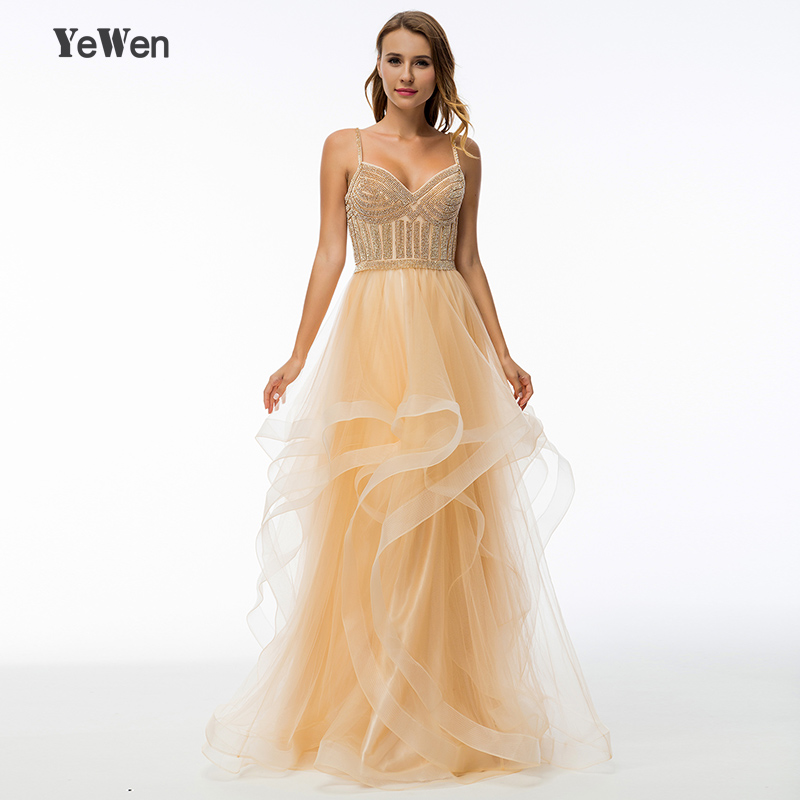 YeWen v neck spaghetti strap champagne long evening dresses party ball gown crystal prom dress 2018 gown de fiesta gown