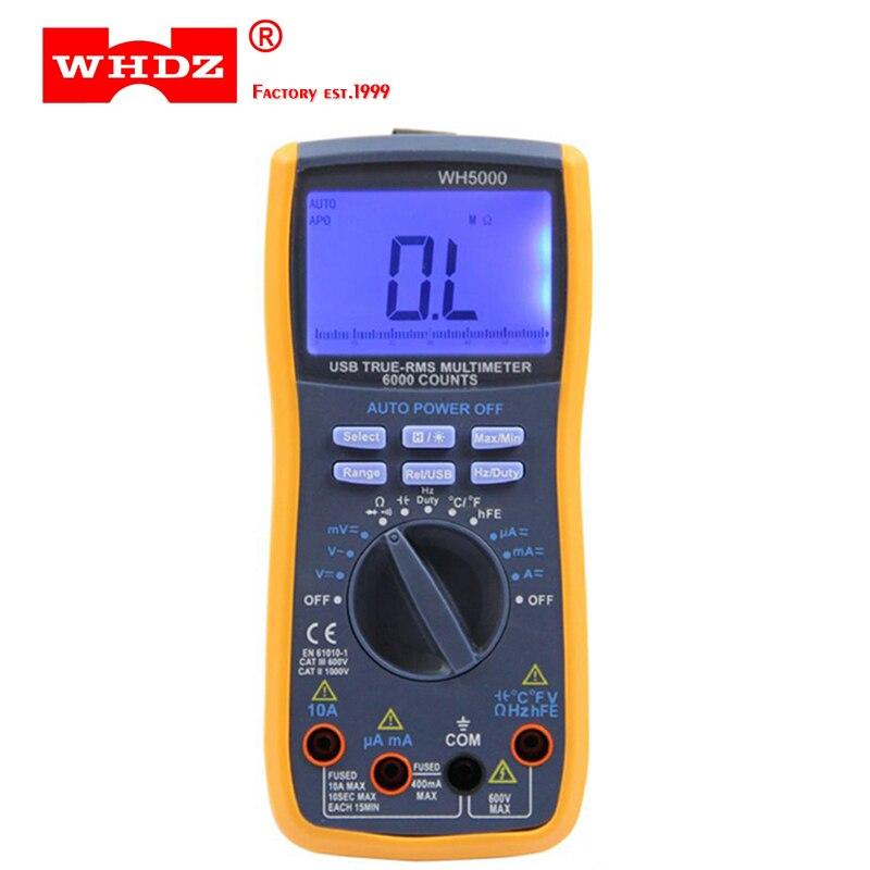 WHDZ WH5000 Multimètre Numérique 5999 Points avec USB Interface Auto Gamme avec Rétro-Éclairage Aimant accrocher AC DC Ampèremètre Voltmètre Ohm