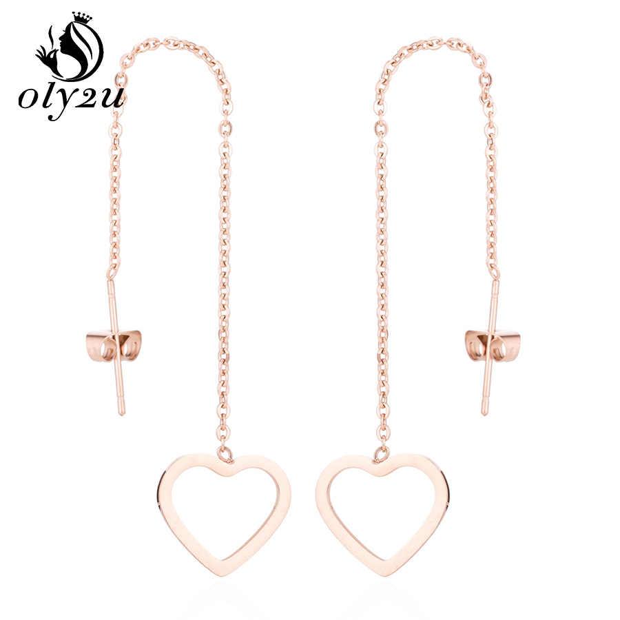 Oly2u Stainless Steel Heart Long Link Drop Earrings For Women Gold Elegant Ear Jewelry Drop Earrings Aros Aretes pendiente
