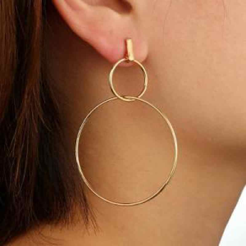 2019 New Hot Personality Exaggerated Simple Geometric Circle Earrings Creative Long Earrings For Women Dangle Earrings Orecchini