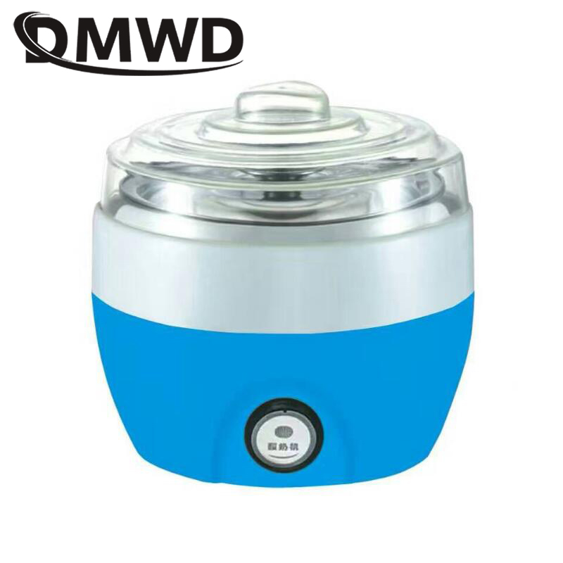 DMWD Automatic Yogurt Maker Electric Buttermilk Sour Cream Making Machine Yoghurt Machine Stainless Steel Liner Container 1L EU