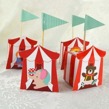 10pcs/lot Cute Circus Animal Baby Shower Birthday Party Favor Candy Box Wedding Souvenir Gift With Blue Writing Name Banners