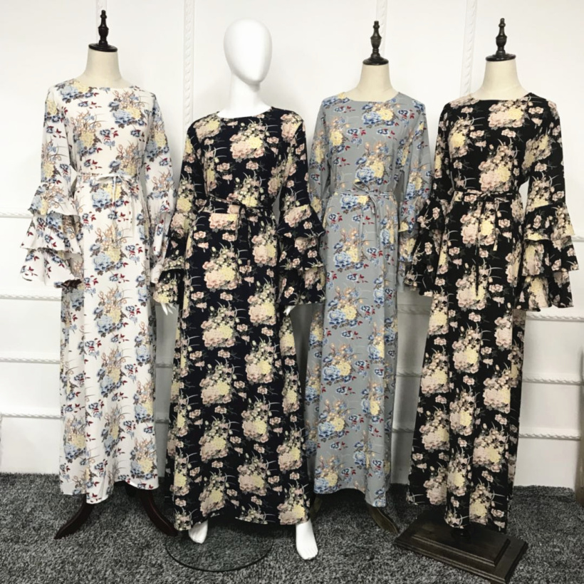 95fd9ec1d90b0 Aliexpress.com : Buy Muslim Print Abaya Flare Sleeve Maxi Dress Long Robes  Tunic Kimono Ramadan Islamic Prayer Clothing Worship Service Wholesale from  ...