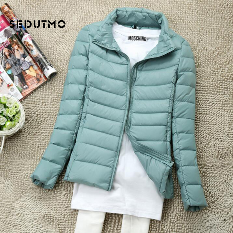 SEDUTMO Winter Plus Size 4XL Women   Down     Coat   Short Ultra Light Duck   Down   Jackets Slim Puffer Jacket Autumn Parkas ED660
