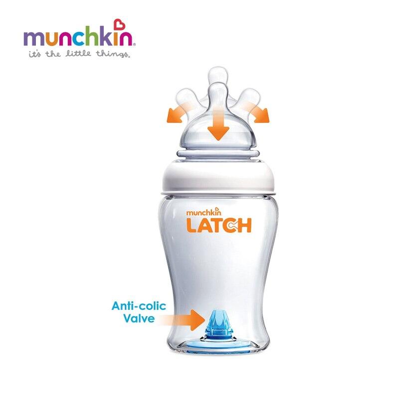 Munchkin bebé pestillo botella 8 envío libre onza 1 Pack BPA libre de silicona bebé Alimentación botella de agua niños de enfermería botellas