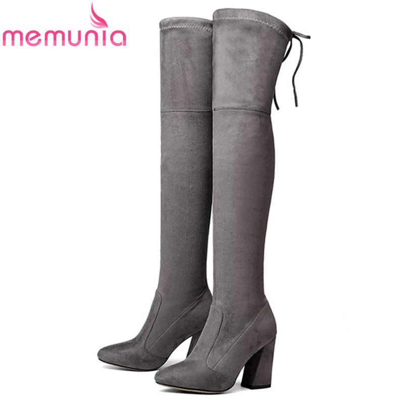 MEMUNIA 8 Colors high heels Faux Suede boots women slim leg pointed toe over the knee boots for women shoes thigh long boots simply beige suede stiletto heels over the knee high boots fancy women pointed toe slim fit thigh high boots celebrities in same