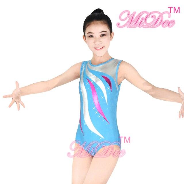 2968bb29fa MiDee Ginásio Swim Traje Modernas roupas de Dança Roupas de Dança Collant  Trajes Competição de Ginástica