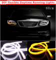 2Pcs/Lot 60cm 12W White+Yellow Flexible Headlight Daytime Lamp Switchback Strip Angel Eye DRL Decorative Light With Turn Signal