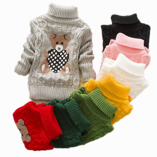 New Cartoon Bear Autumn Winter Baby Boys Girls Kids Children's Warm Turtleneck Sweaters Pullover Cardigans Top clothes Outerwear