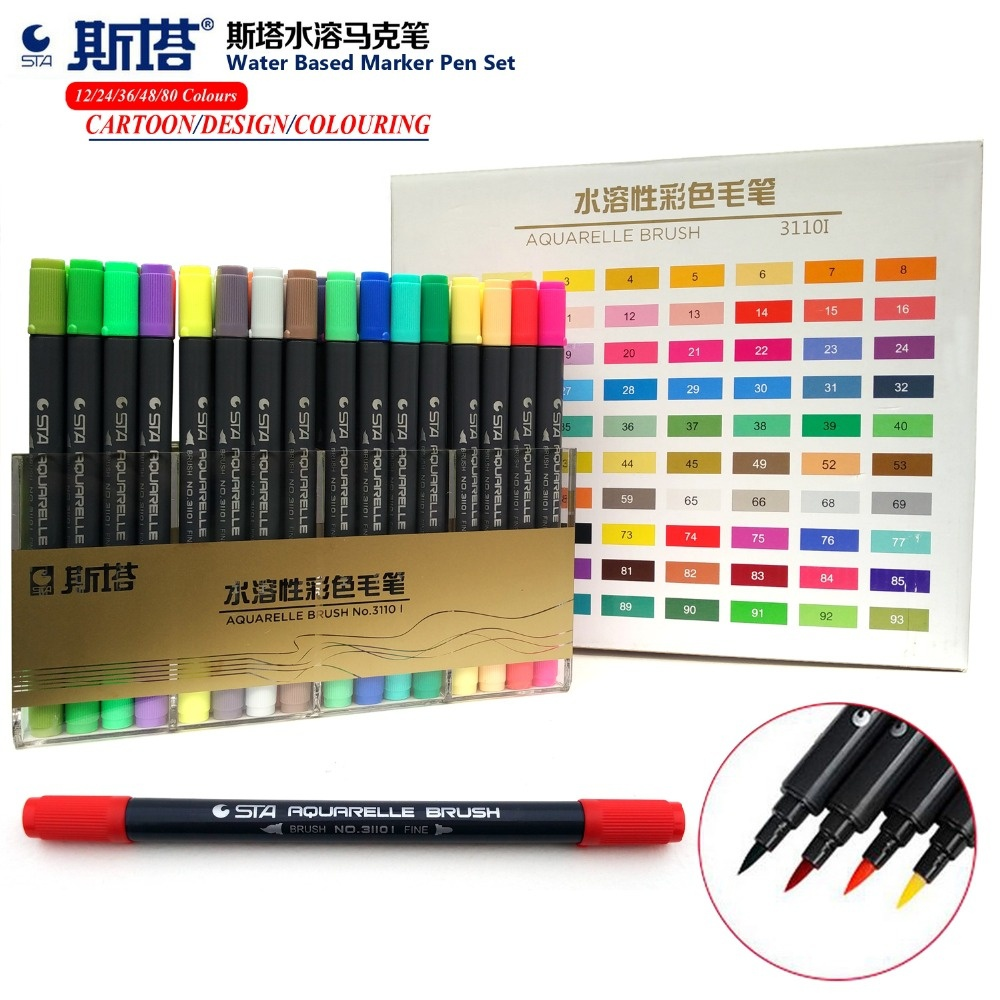 STA 12/24/36/48/72/80 Water Based Ink Twin Tip Marker Pen Art Brush Sketch Marker Pens  for Art Graphic Drawing Manga Fine Art w110145 soft head fine water mark pen 48 60 color beginners painting professional equipment advanced ink student art suit