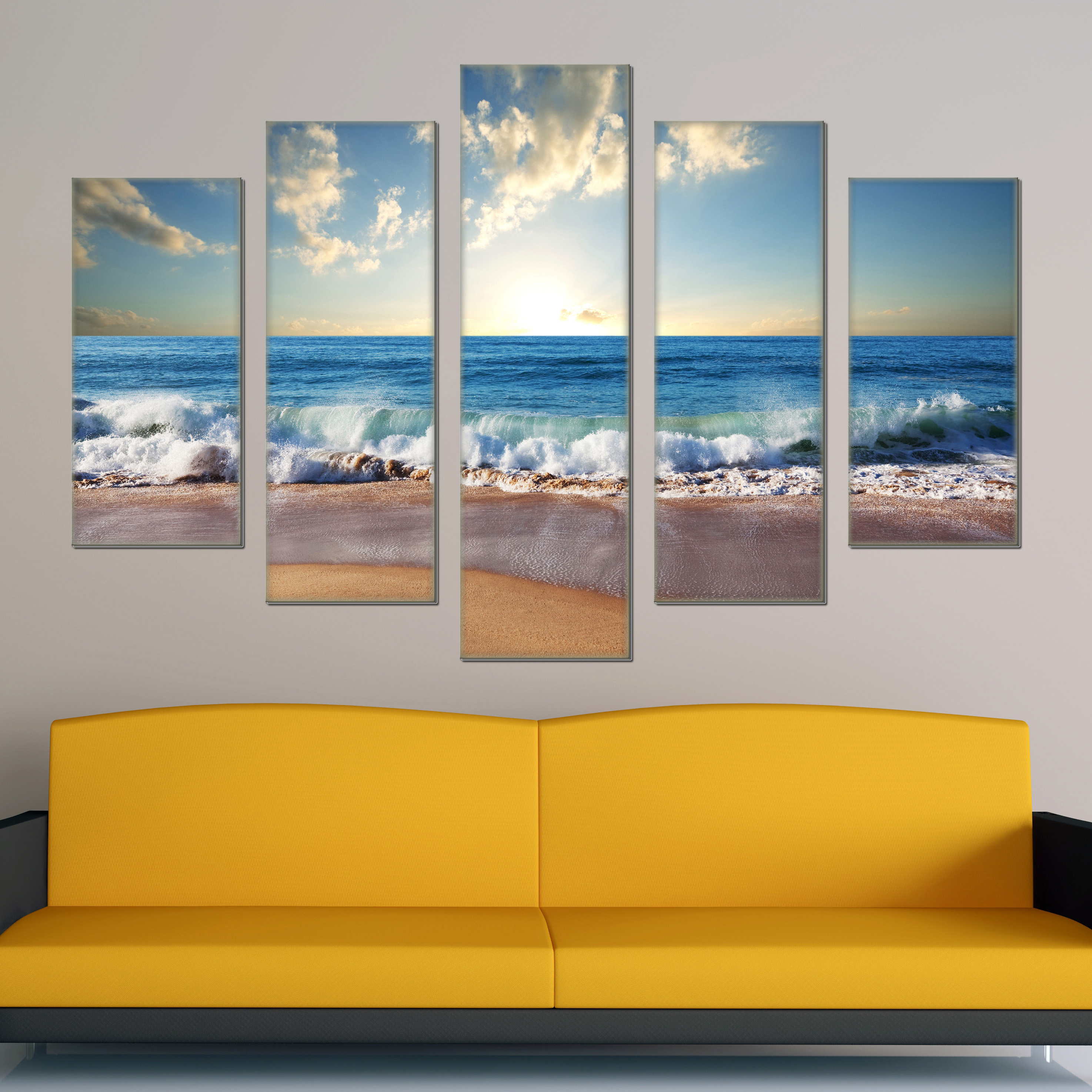 5 Piece Canvas Art Sunrise Modern Landscape Painting Beach Home Wall Decor Picture Set Prints In Calligraphy From