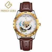 Цена Гера Для мужчин автоматические механические Водонепроницаемый модные кожаные часы Скелет Tourbillon Moon Phase уникальные кожаные ремни, часы