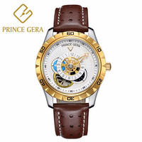 PRINCE GERA Men Automatic Mechanical Waterproof Fashion Leather Watch Skeleton Tourbillon Moon Phase Unique Leather Straps watch