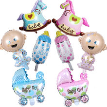1 hot sale mini angel baby bottle baby carriage aluminum balloon girl and boy balloon full moon birthday party supplies(China)