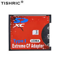TISHRIC WiFi SD to CF Card Adapter MMC SDHC SDXC to Standard Compact Flash Type I Card Converter UDMA Card Reader