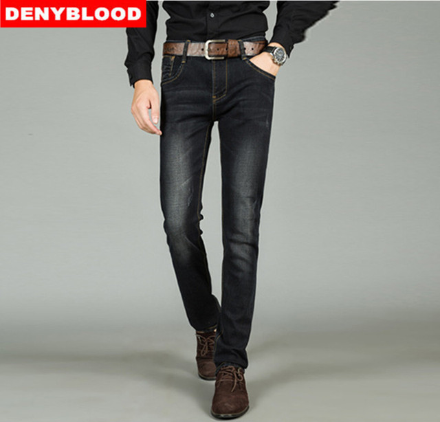 1e53d1fee3906 Plus Size 28-44 Mens Stretch Denim Slim Straight Jeans New Arrival  Distressed Jeans Ripped Fashion Jeans Blue Black 50667
