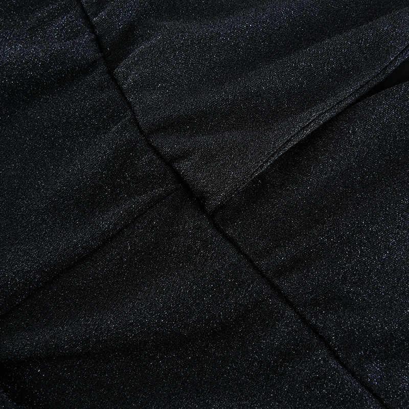 Женский комбинезон с широкими штанинами, лето 2019, глубокий v-образный вырез, блестящие длинные штаны, сексуальный комбинезон для клуба, вечерние, элегантные комбинезоны