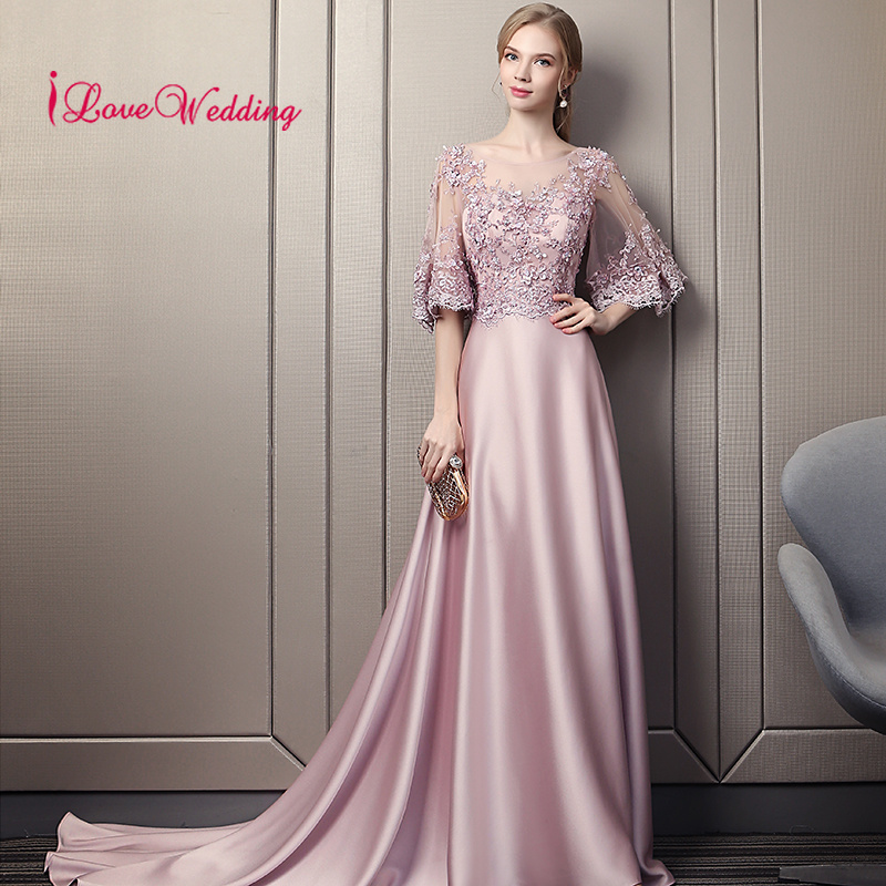 New Arrival 2019 Sexy Illusion Scoop Collar Long   Prom     Dresses   Custom made Court Train Elegant PinkProm   Dress   Lace