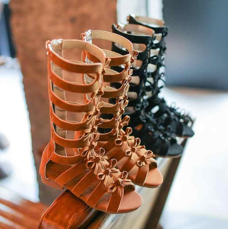 Обувь для девочек сандалии-гладиаторы сапоги и ботинки для девочек скраб кожа Лето коричневый черный высокие модные детские сандалии ан