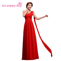 robes de soiree multi one shoulder long celebration red evening plus size chiffon gown dresses elegant burgundy dress W2000