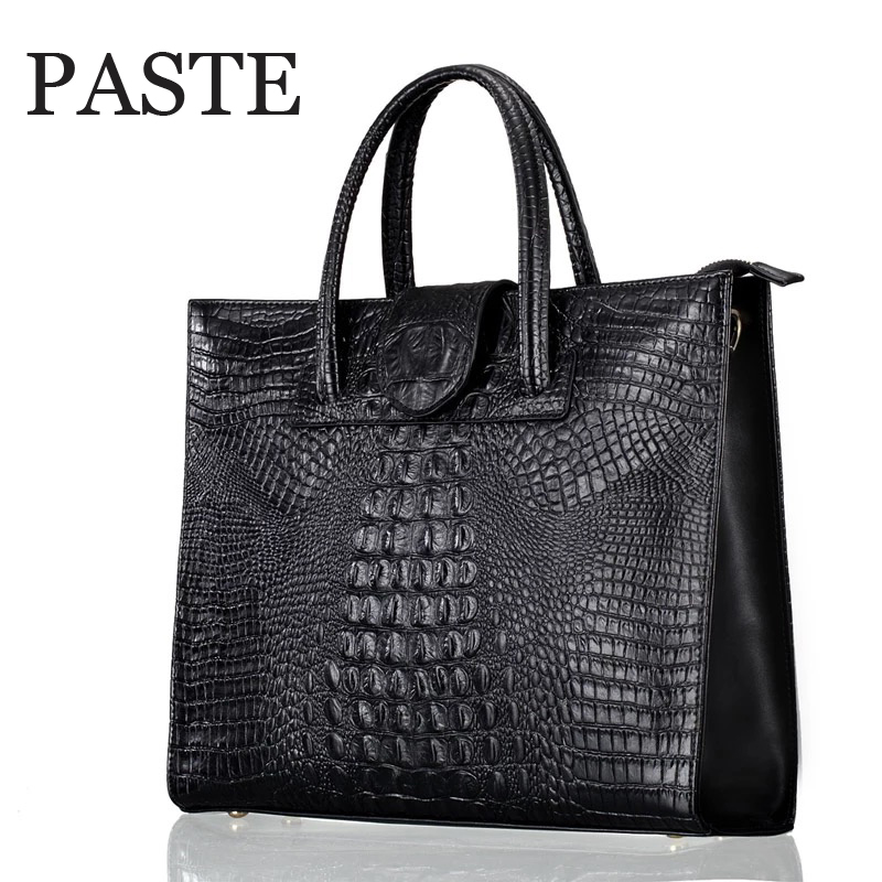 Fashion luxury Crocodile Pattern Women's real Leather Handbag Genuine Leather ladies Shoulder Bag OL bussiness laptop Bag-in Shoulder Bags from Luggage & Bags    1