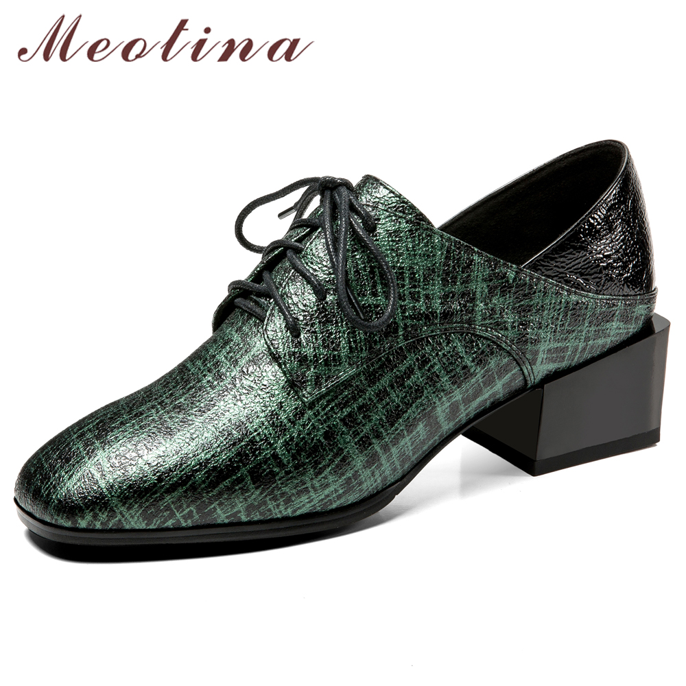 4339e5b6286 Cheap Meotina zapatos de mujer Zapatos de tacón alto Natural grueso de  cuero genuino de tacón