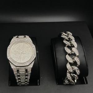 Image 4 - יוקרה גברים שעון + צמידי סט אופנה יהלומי קרח החוצה קובני Braclete שרשרת זהב כסף צבע קריסטל מיאמי עם תיבה 2019