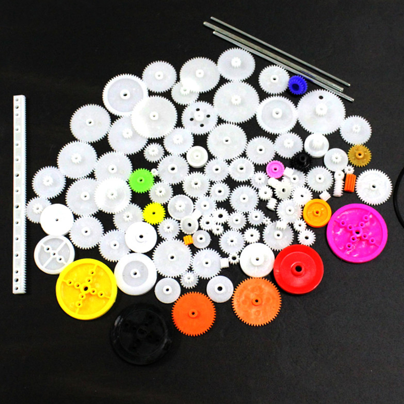 106Pcs DIY Robot Toy <font><b>Car</b></font> Ferry Model Plastic Motor Gear Rack <font><b>Pulley</b></font> Worm Gearbox for Four-wheel Drive Scientific Experiment image