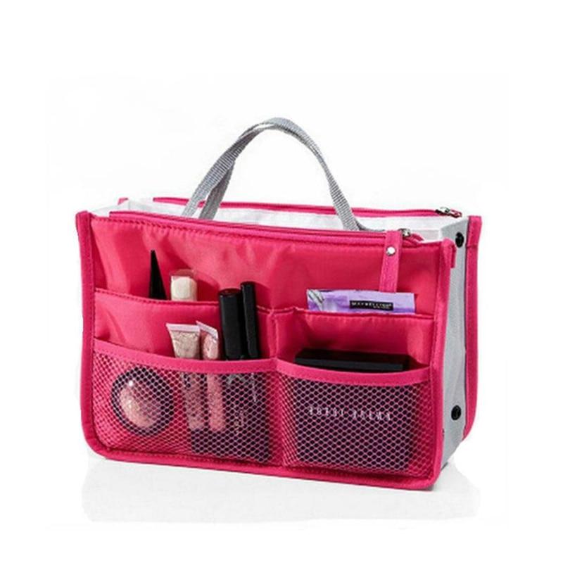 Women Cosmetic Bag Organizer Bag In Bag Double Zipper Makeup Bag Portable Multifunctional Travel Pockets Handbag