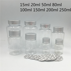 Free Shipping 30 pcs 50 100 250 ml Empty Clear Candy Plastic Packing Bottles Silver lid Spices Food Seal Sample Pill Containers